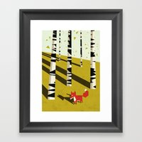 fox in birchland Framed Art Print