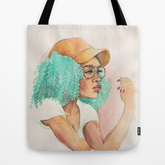 Minty Curls Don't Care Tote Bag