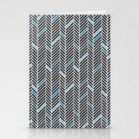 Herringbone Black And Bl… Stationery Cards