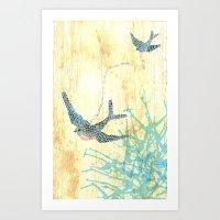 Birds of blue Art Print