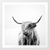 monkey Art Prints featuring portrait of a highland cow by Dorit Fuhg
