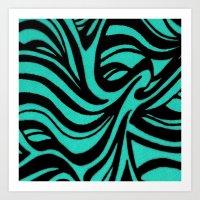 Blue & Black Waves Art Print