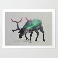 Reindeer In The Aurora Borealis Art Print