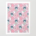 Tiny Elephants in Fields of Flowers Art Print