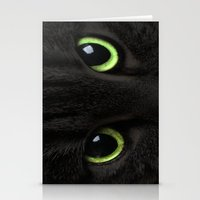 Green Cat Eyes Stationery Cards