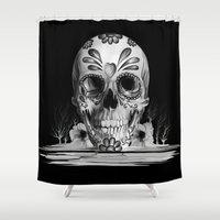 Pulled sugar, day of the dead skull Shower Curtain