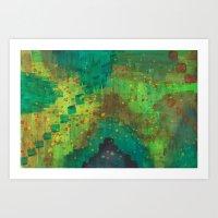 Green Pyramids Art Print