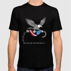 American Eagle Clutching Towing J Hook Flag Drape Retro SMALL Black Mens Fitted Tee