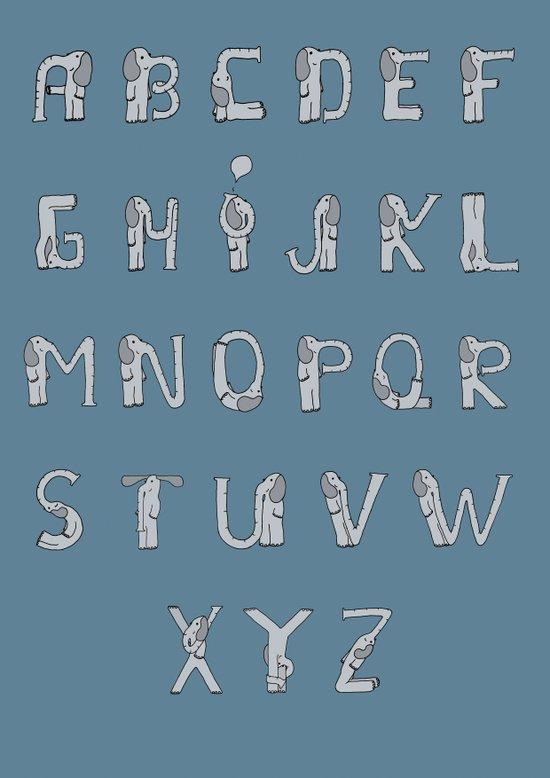 Elefont alphabet Art Print