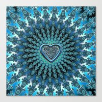 Celtic Heart Knot Fractal Mandala Canvas Print