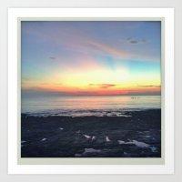 Sunset Sea Shore Art Print
