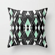Art Deco Zoom Mint Throw Pillow
