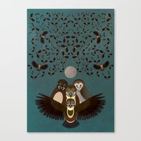 Owls In The Sky Canvas Print