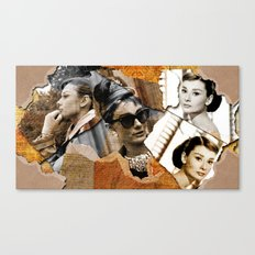 Audrey Hepburn - Ripped Paper Style - Canvas Print