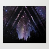 Triangle Forest At Night Canvas Print