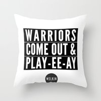 Warriors Playyeeay Throw Pillow