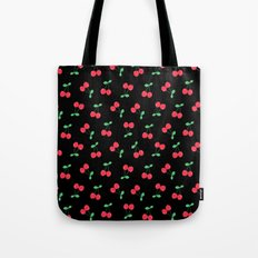 Cherries on Black Tote Bag