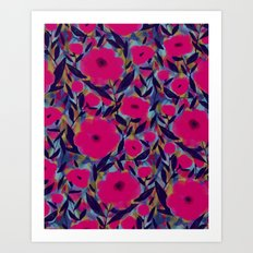 Layered Leaf Floral Fuchsia Art Print