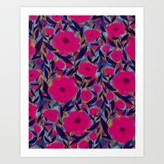 Layered Leaf Floral Fuchsia Art Print