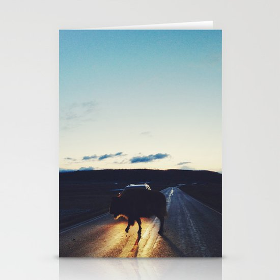 Bison in the Headlights Stationery Card