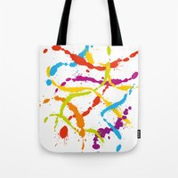 Splattered Rainbow [WHITE] Tote Bag