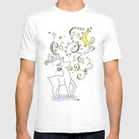 Deer Design Mens Fitted Tee White SMALL