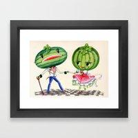 Kitschy Cute Watermelon … Framed Art Print