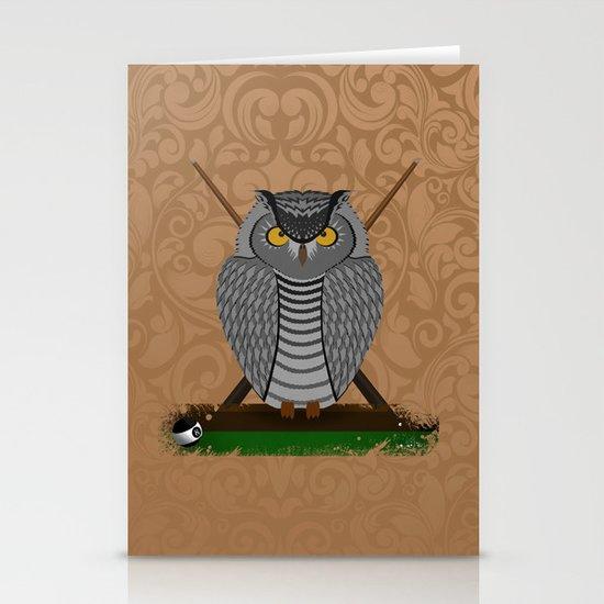 owl playing billiards Stationery Card