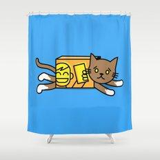 box cat Shower Curtain