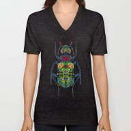 Unisex V-Neck featuring Flower Beetle Turquoise by Sharon Turner