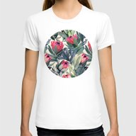 Painted Protea Pattern Womens Fitted Tee White SMALL