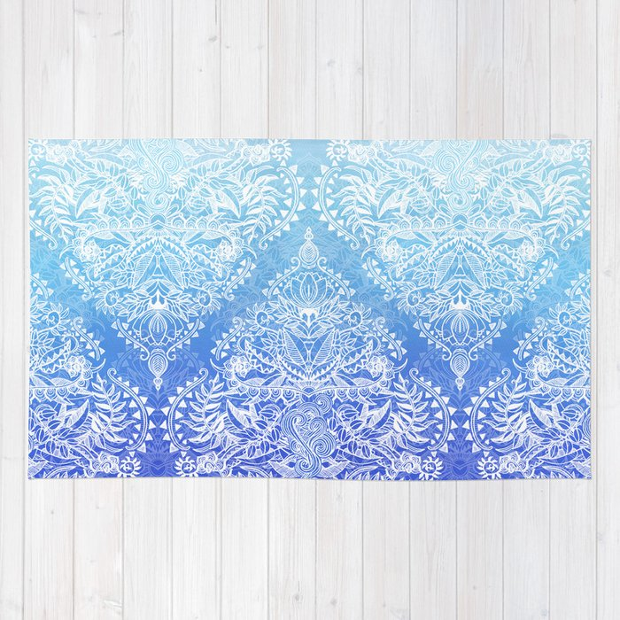 White Lace Doodle In Ombre Aqua And