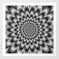 Chrysanthemum in Black and White Art Print