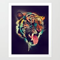 logo Art Prints featuring FEROCIOUS TIGER by dzeri29