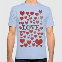 Love Heart Valentines De… Mens Fitted Tee Athletic Blue SMALL