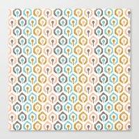 Honeycomb IKAT - Ivory Canvas Print