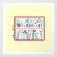 Emergency Bookshelf Art Print