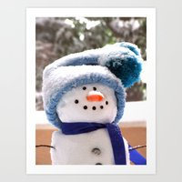 Snow Cute Handmade Snowm… Art Print