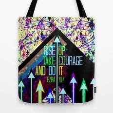RISE UP TAKE COURAGE AND DO IT Colorful Geometric Floral Abstract Painting Christian Bible Scripture Tote Bag