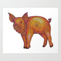 Patterned Piglet Art Print