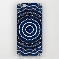 Blue stripes on white grunge textured kaleidoscope iPhone & iPod Skin