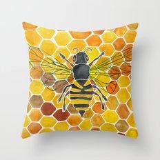 Bee & Honeycomb Throw Pillow