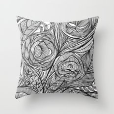 Garden of fine lines Throw Pillow