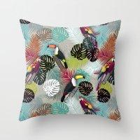 Tropical Birds (Color 2 - Bold) Throw Pillow