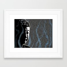 Typographic Fine Art Print Illustration Poster Stencil Graffiti: Buddha quotes and inscens smoke  Framed Art Print