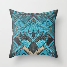 Hunting Club: Azure Rathalos Throw Pillow
