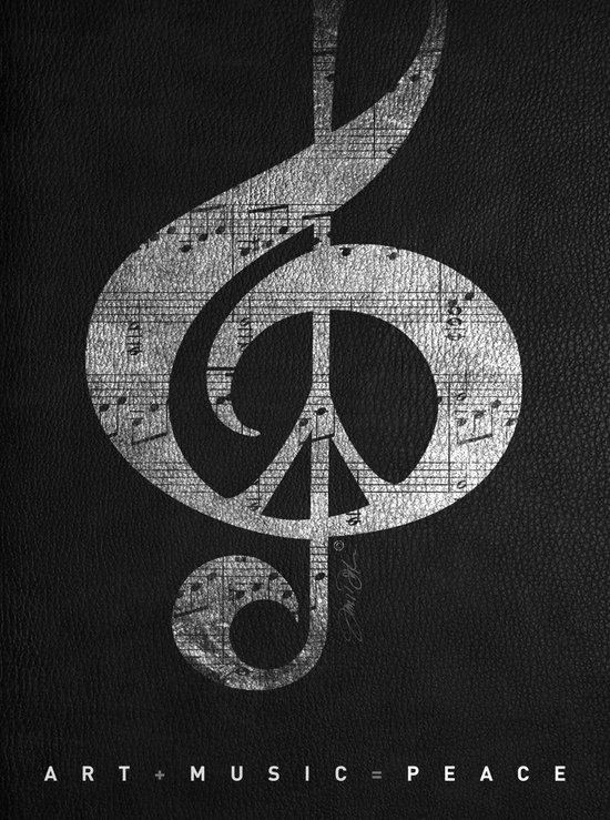 Music & Peace Black Leather Art Print