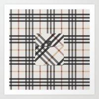 Plaid Pocket - White / B… Art Print