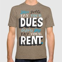 Dues Before Rent Mens Fitted Tee Tri-Coffee SMALL