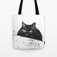 black cat yellow eyes Tote Bag